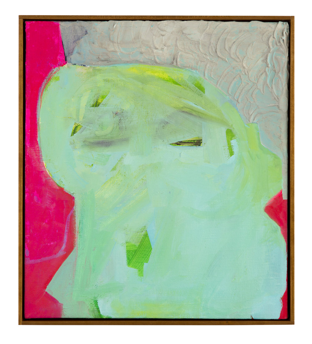 Green Eyed Monster,  2016 Oil, acrylic, and joint compound on linen 18in x 13in private collection