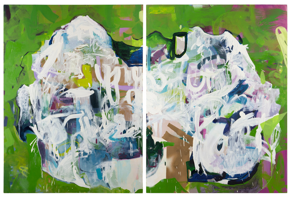 Icebergs,  2015 Mixed media on canvas 48in x 98in private collection
