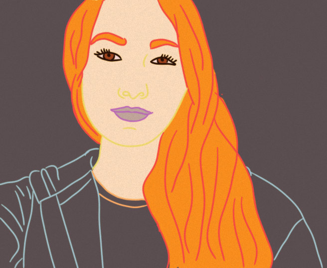 digital art woman drawing orange