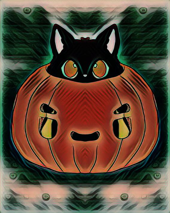 halloween kitten cat kitty pumpkin symmetrical digital art edit effect symmetry