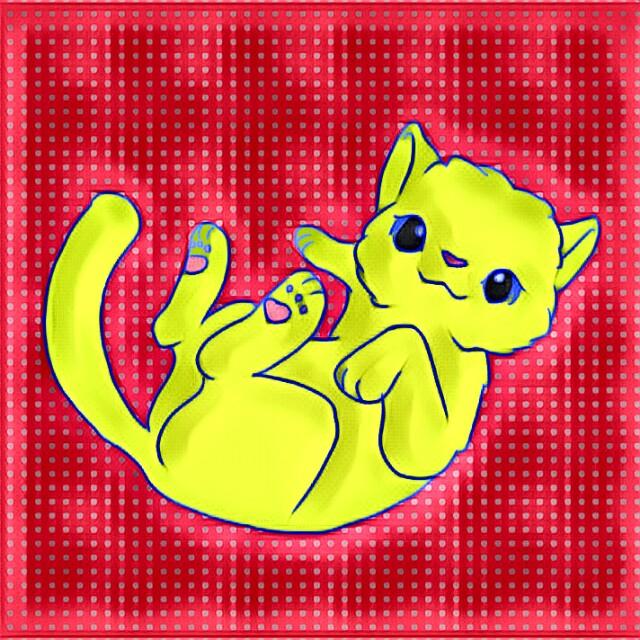 kitten cat kitty yellow digital art drawing