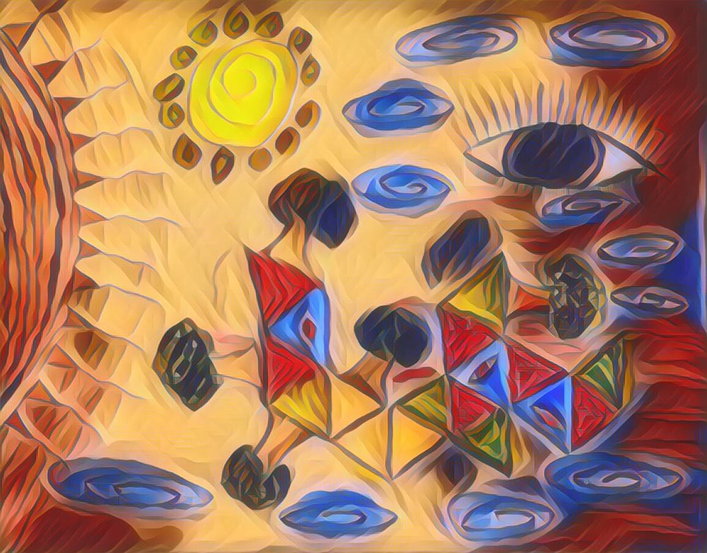 psychedelic art, abstract art, surreal art, eyes, trees, sun, starts, shapes, mind, consciousness, confusing art