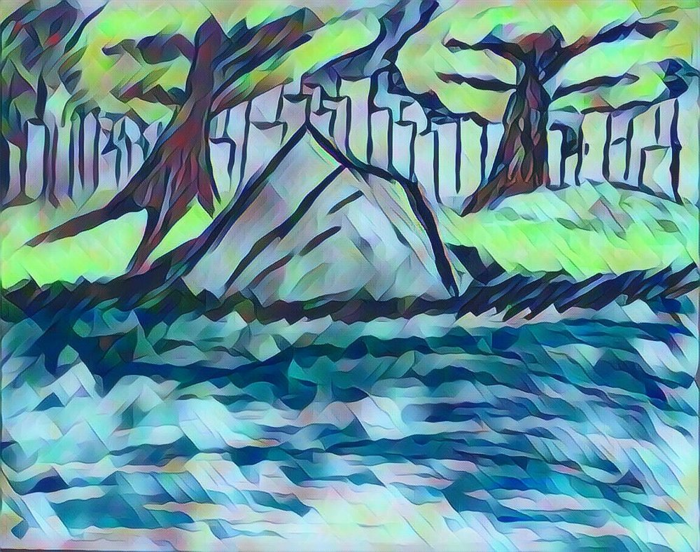 rock, nature, painting, art, artist, artistic, water, river, stream, grass, trees, city