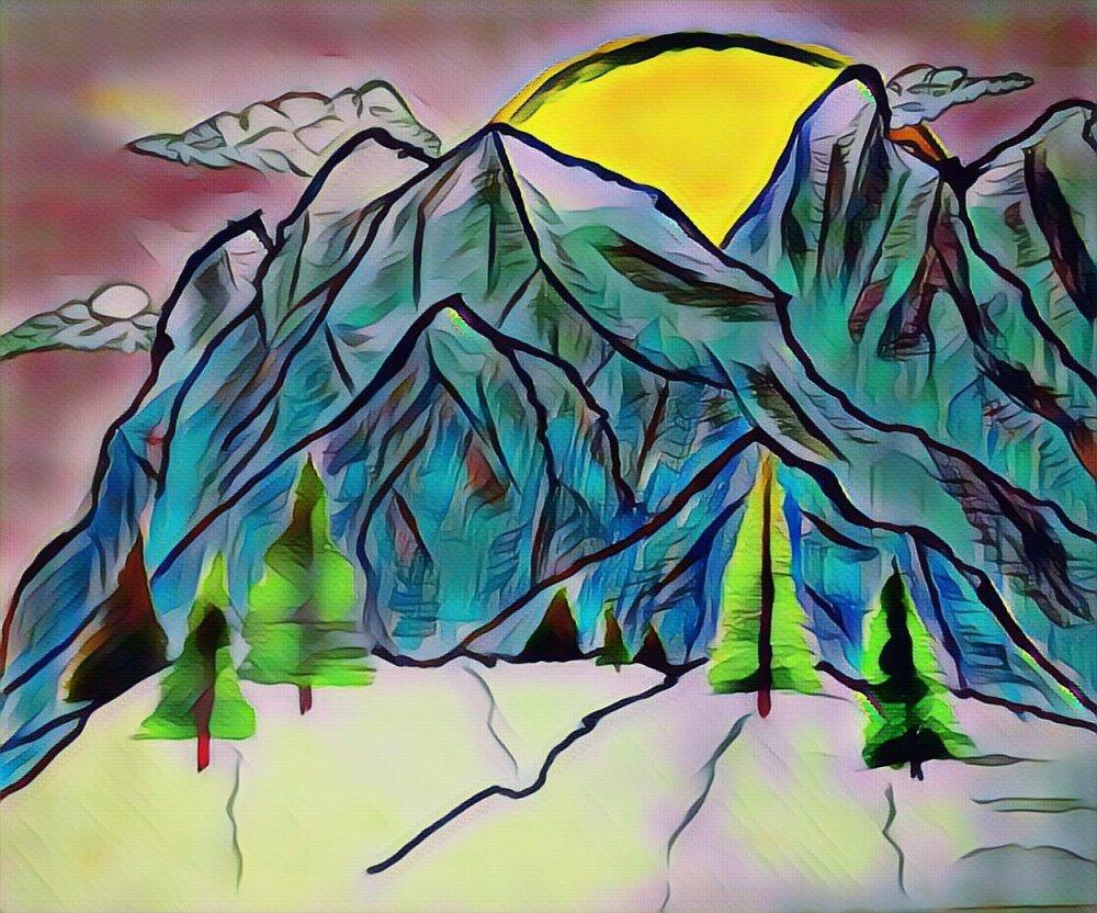 evening, painting, art, artist, artistic, mountain, pine trees, sun, sky, night, snow,
