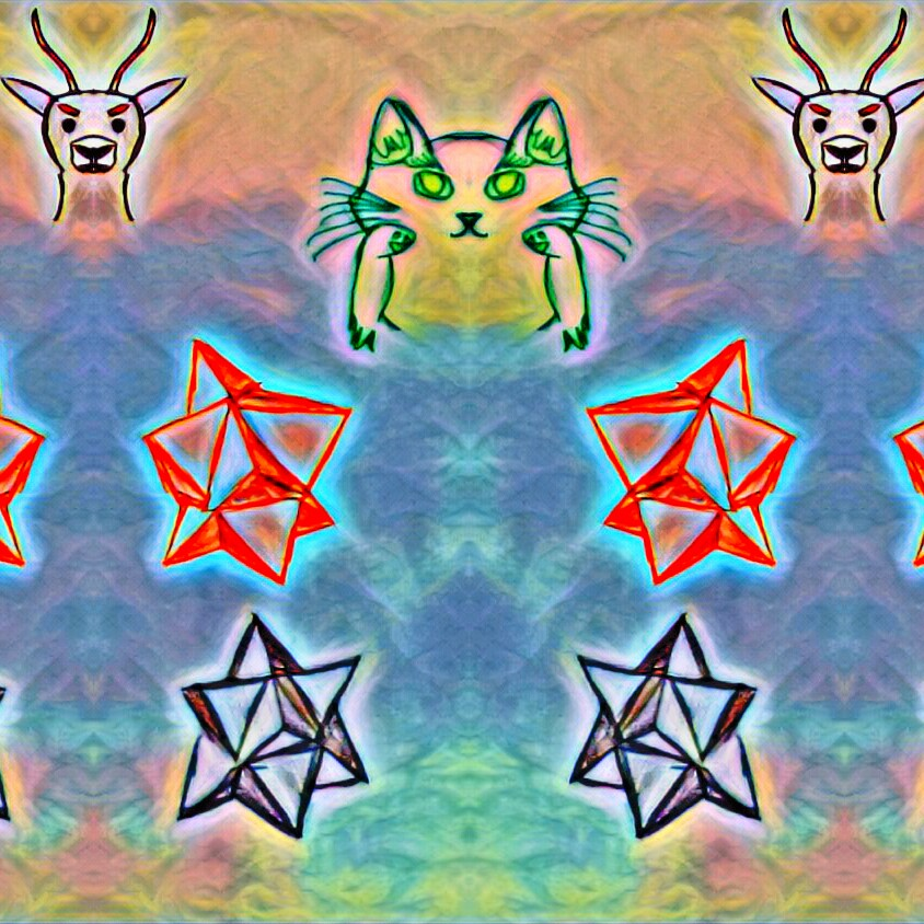 Meow cat symmetry rainbow abstract art deers starts