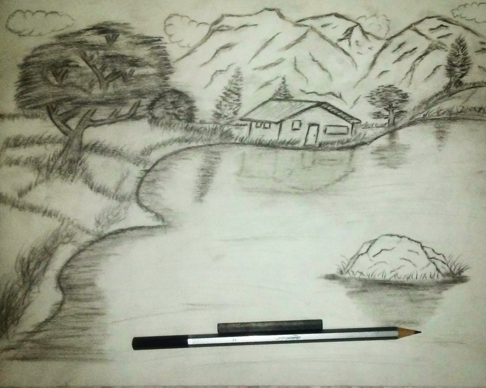 pencil sketch, mountain, water, rock, grass, trees, hill, black and white, house, reflection, sky