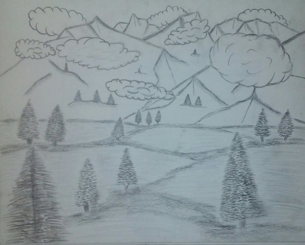 pencil sketch, black and white, pine trees, woods, clouds, hills, mountains, sky,