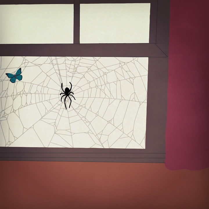 Window Sill butterfly spider web digital doodle illustration daily insect art