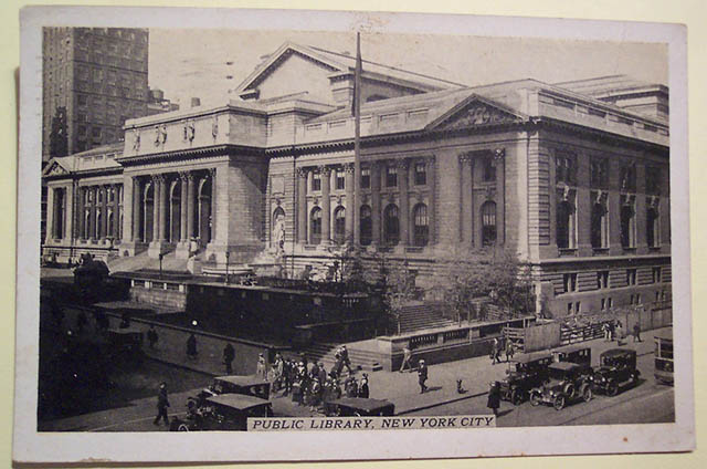Vintage postcard of the New York Public Library, posted on  Flickr by Dave  (circa 1933).