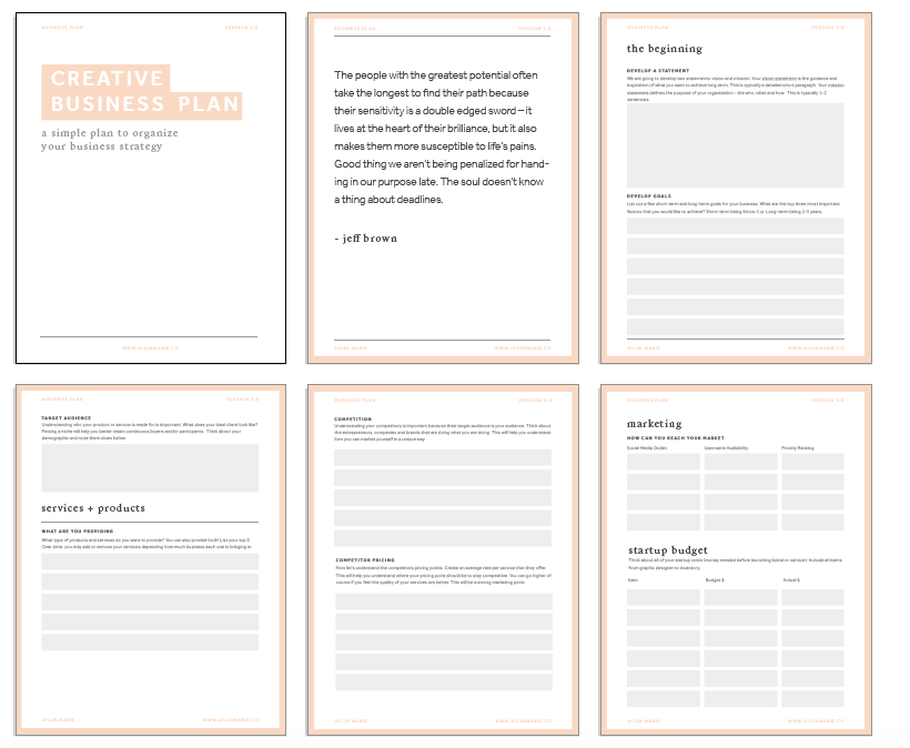 Freebie creative business plan template aylin marie free creative business plan template wajeb