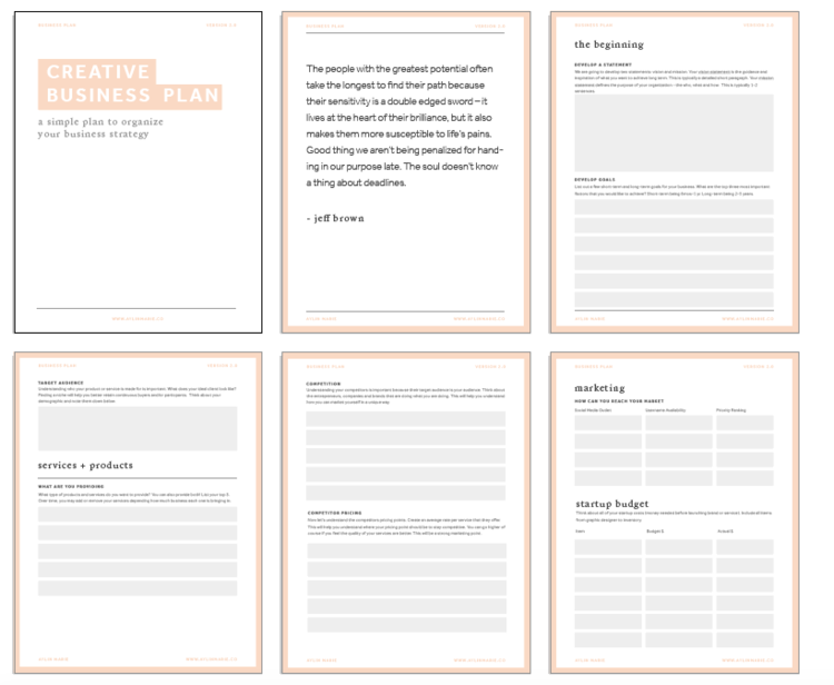 Freebie creative business plan template aylin marie get access now accmission Gallery
