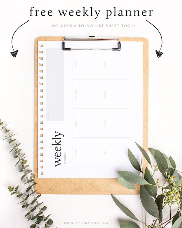 free weekly planner sheet to do list aylin marie