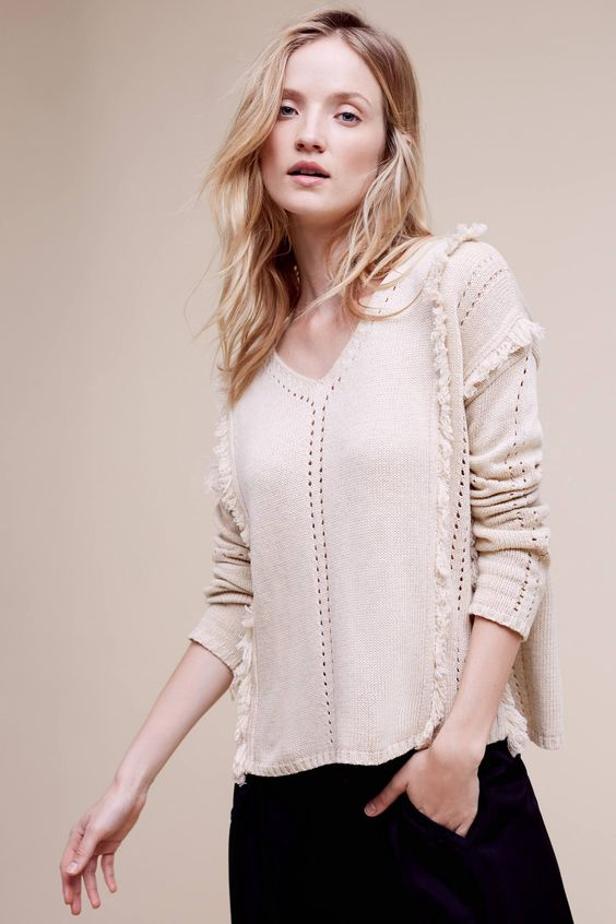 Lisette Fringe Sweater- Anthro