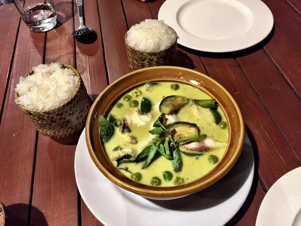 Laos had AMAZING food, like this $3 fish and kampot curry with sticky rice