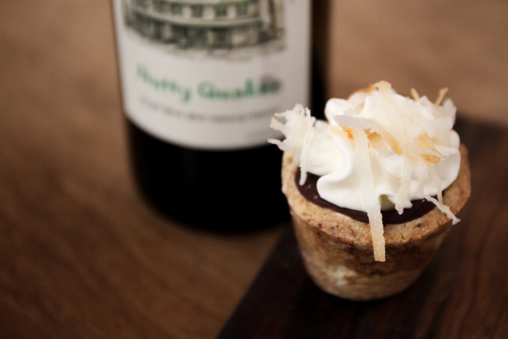 Going CocoNUTS - Pair with a Chocolate Chipster Cookie Cup Sweet red wine with whipped cream and coconut flakes