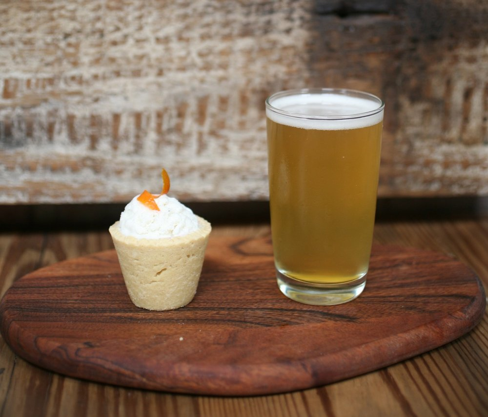 It Takes Two to Mango  - We didn't forget about our beer fans ;) Pair with a Birthday Cake Cupcake  Add Belgian Ale with fruity undertonesTop with a scoop of vanilla iced cream and a mango peel garnish.