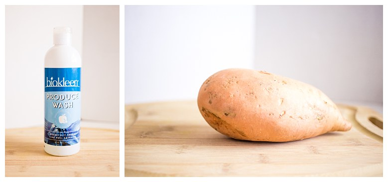 I first start with ALWAYS washing my potato really well.  Also, Buy a FAT sweet potato! You want it to be wide enough to not get lost down in the toaster.