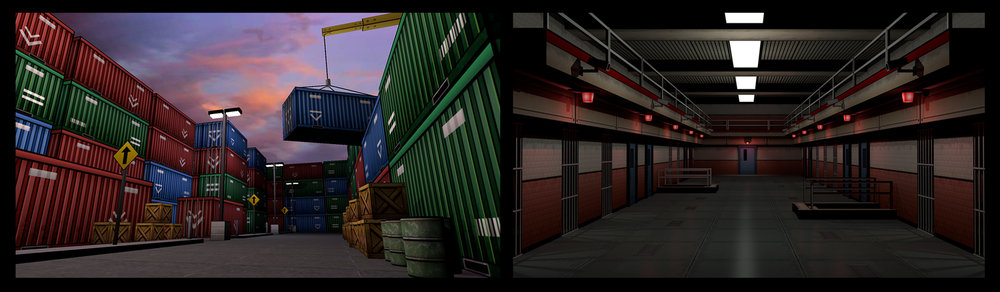 Samples of 3D environments in game (The Docks and Prison).