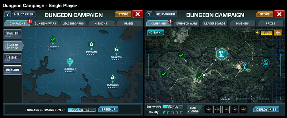 Feature: Campaign  Goal: To provide users with a single player campaign mode and special prizes.  In the left image is the main screen of the campaign mode. Users are able to access different types of dungeon with the Dailies, Limited, Siege, and Invasion tabs on the left. After tapping on a Dungeon map marker, the user have access to the mission map that's displayed in the right image. Each mission is presented with an icon on the map. For a selected mission, the difficulty level, loot chance, and start button are displayed on the bottom of the screen. Starting a mission takes a set amount of energy. If you run out of energy, you can pay for more or wait until it fills up again.