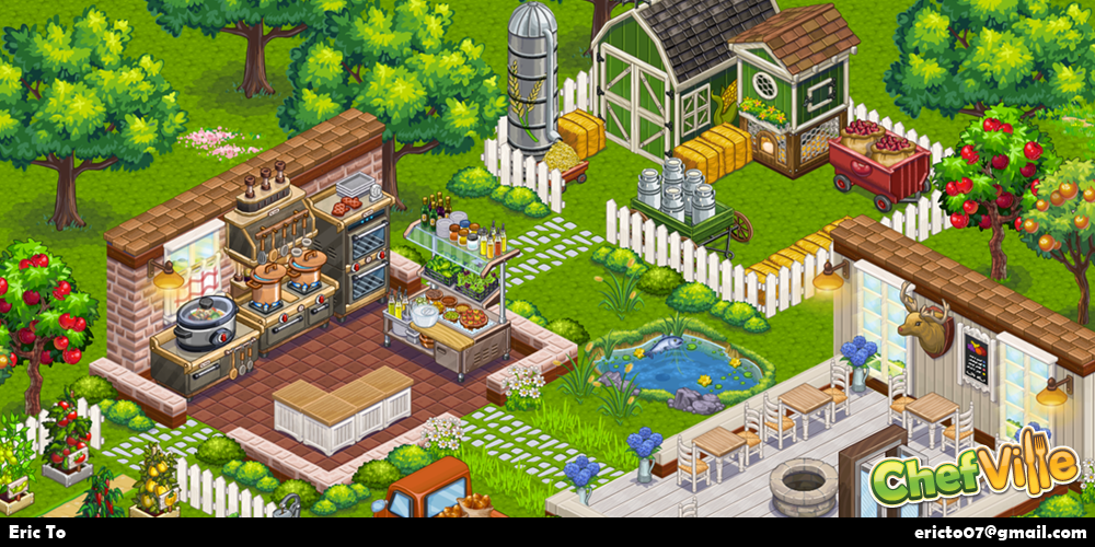 In the game, you can design different types of rooms like a kitchen, dining rooms, and farm area.