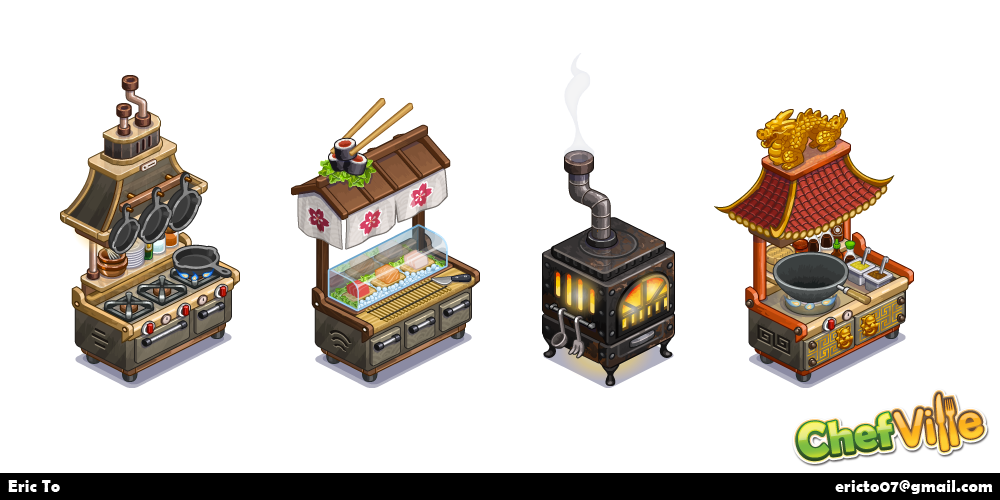 Designs for cooking stations