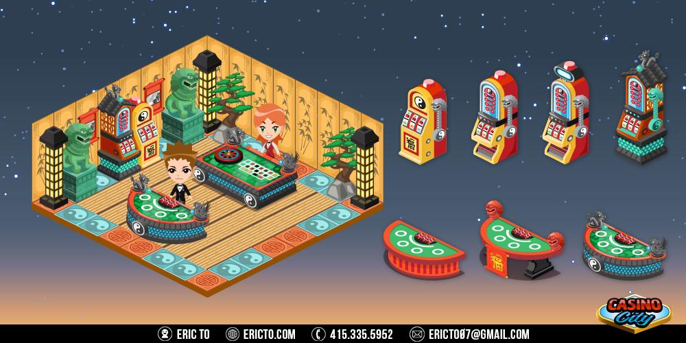 Asian theme - Gambling tables, slots, and decor.