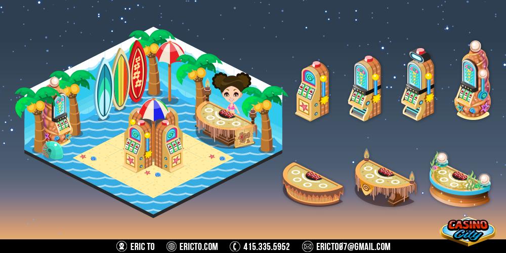 Beach theme - Gambling tables, slots, and decor