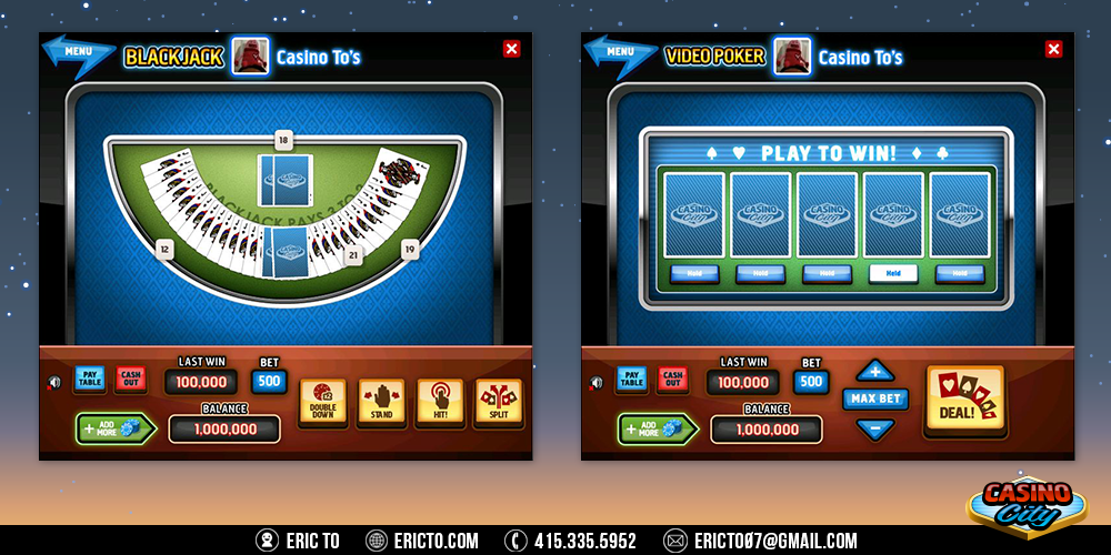 Black jack and video poker gambling games.