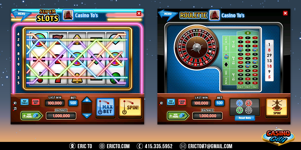 slot machine and roulette gambling games.