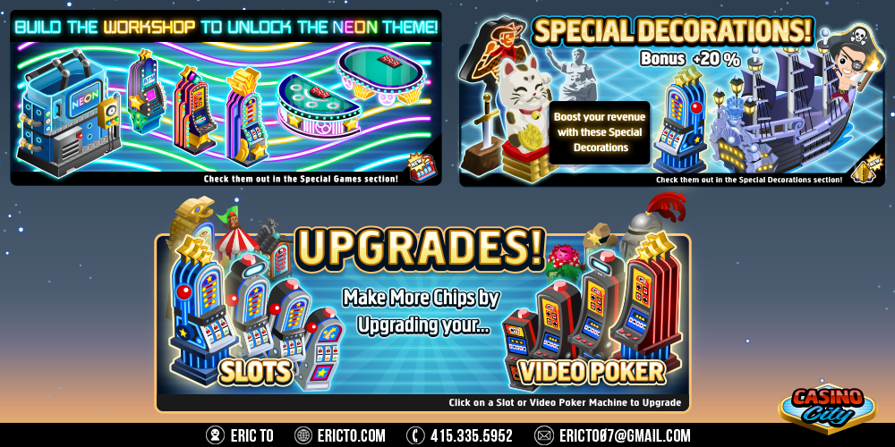 Banner ads for new decor and gambling stations.