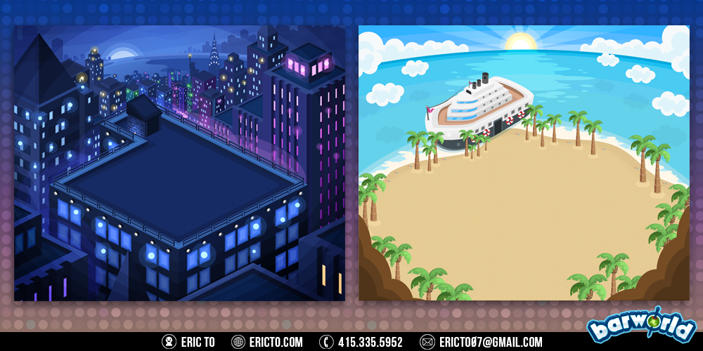 Rooftop and beach environments.