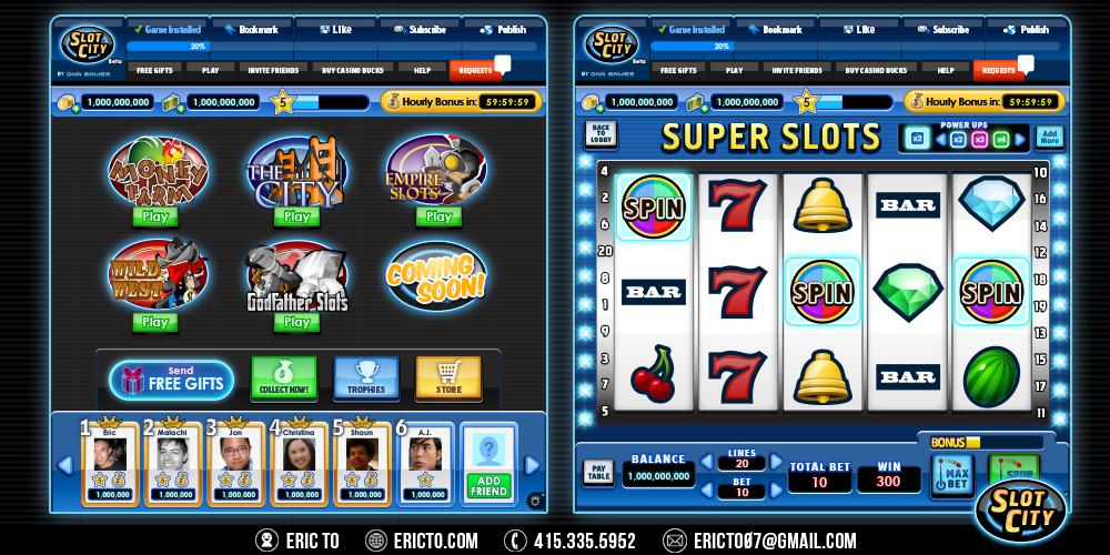 Slot City main menu and the default slot theme design.
