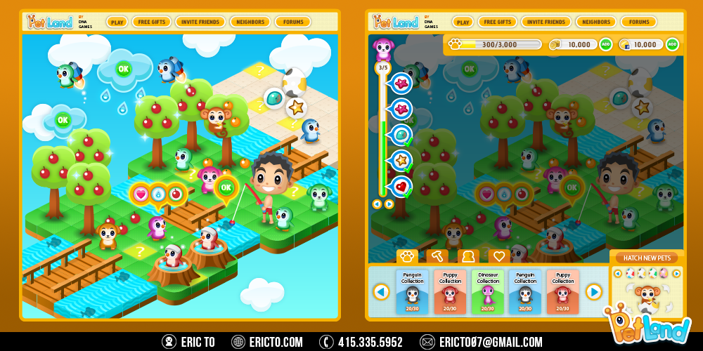 Game concept without UI on the left and with the UI on the right. The UI includes a tasks meter on the top left, level and currencies on the top right, and a bottom HUD. In this tab, you can see how many pets you own and the max amount that you can get.