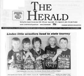 Linden Little Wrestlers Head to State Tourney.     The Herald, March 2016.