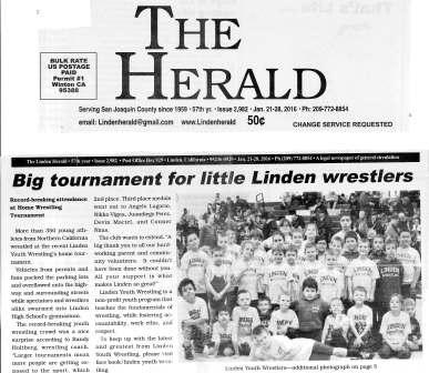 Big Tournament for Little Linden Wrestlers. Record-Breaking Attendance at Home Wrestling Tournament.   The Herald, January 2016.