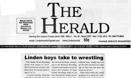 Linden Boys Take to Wrestling .  The Herald, December 2016.
