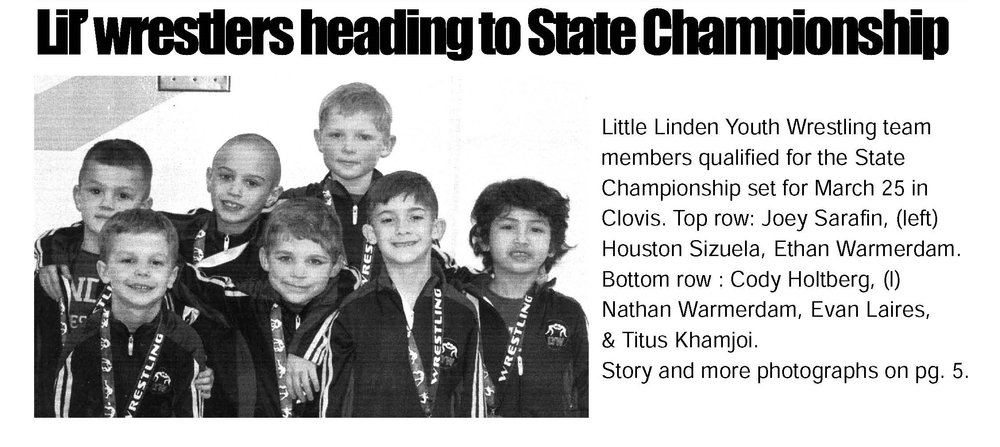 Lil' Wrestlers Heading to State Championship.   Herald. March 2017 .