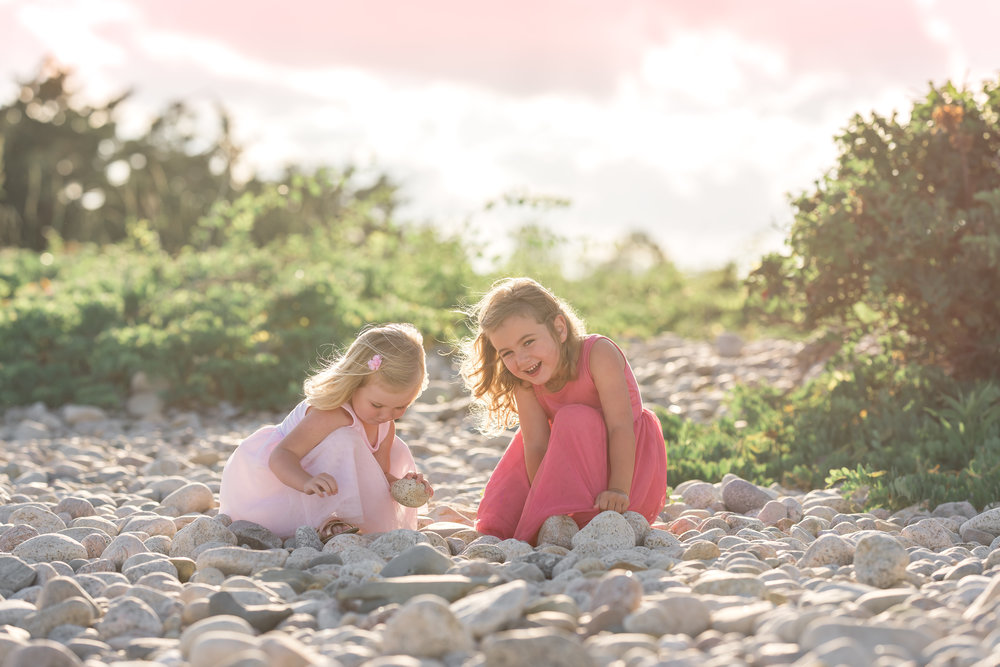Except for a bit of wind, it was a perfect night. They had called for rain but we certainly lucked out with clear skies. After a little walk, we found just the right spot for the girls. We had a mix of these gorgeous river rocks as well the ocean.