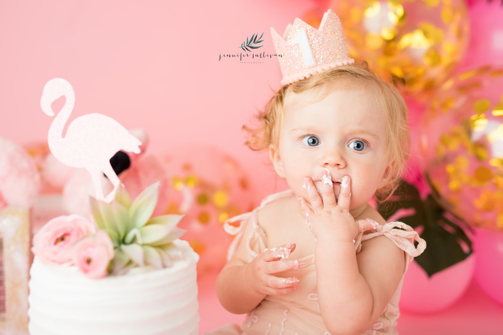 I first met Olivia a year ago when she came to me for her Newborn portraits here in my Dartmouth studio. I have had the pleasure of watching her grow over the past year and capturing some milestones. I was so excited when mom said let's do a flamingo theme. I love flamingos! I wanted to keep it simple and classy but still add a splash of tropical and fun.