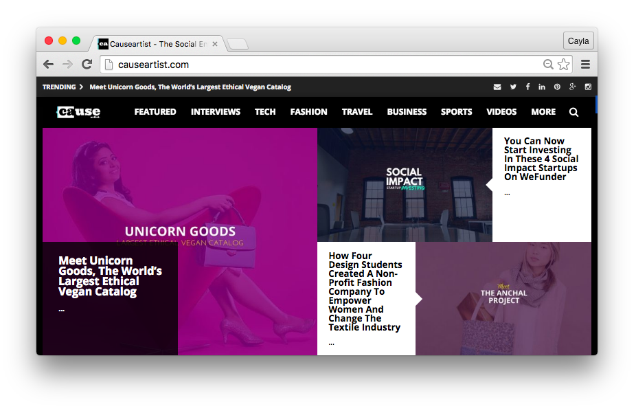 The CauseArtist website with Unicorn Goods as the featured article on the homepage.