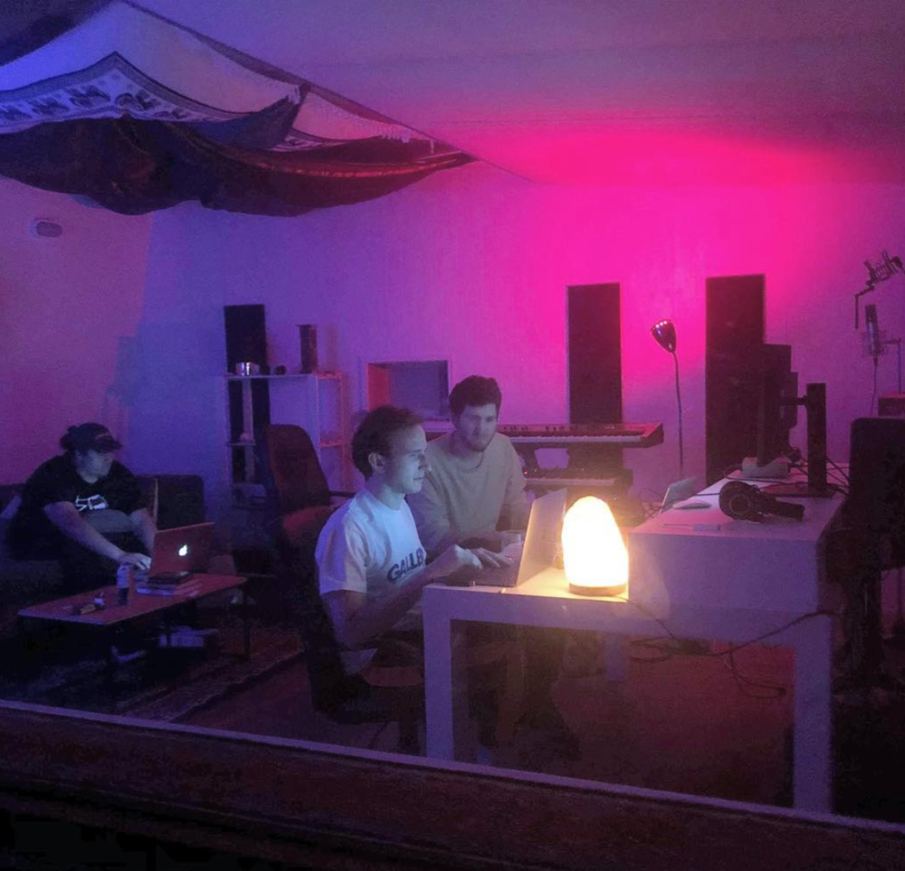 Montell2099 in studio with RL Grime and Baauer.