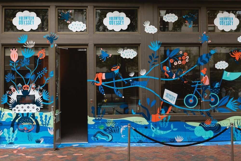 """The """"Heart of Memphis"""" interactive mural decorates the front of Volunteer Odyssey headquarters in downtown Memphis."""