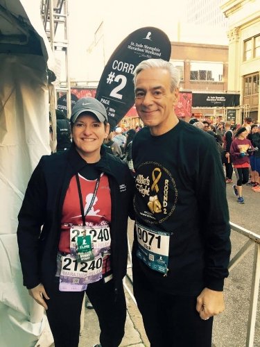 Emily with Rick Shadyac Jr., President & CEO, ALSAC during the St. Jude Memphis Marathon.