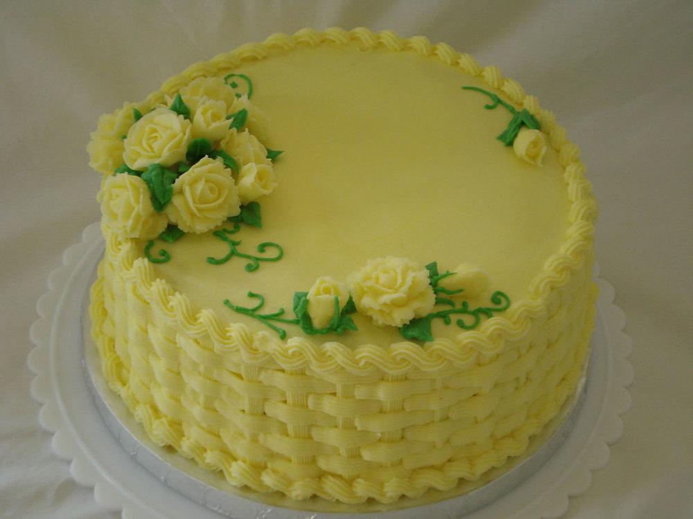 Spring basket weave cake