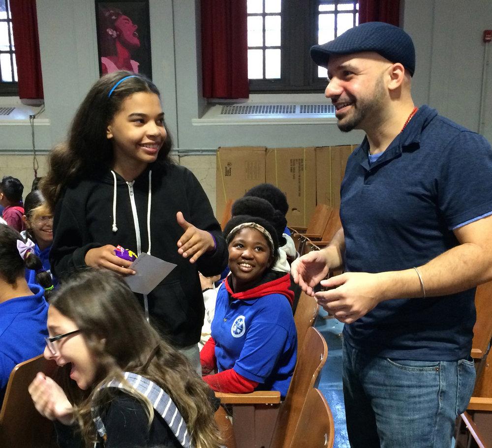 Daniel José Older meets 8th graders at MS 89 in the Bronx.