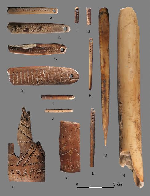 Decorated objects excavated from a Paleolithic site on the Yana River, Siberia