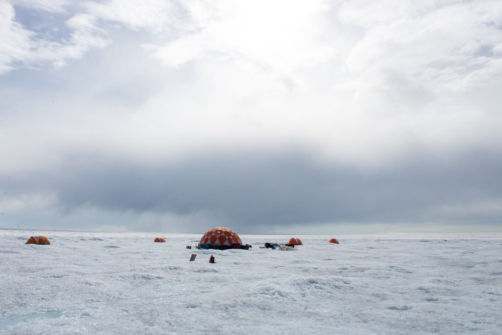 This team is studying ice sheet dynamics, or the ways the ice sheet moves over the land and into the sea.