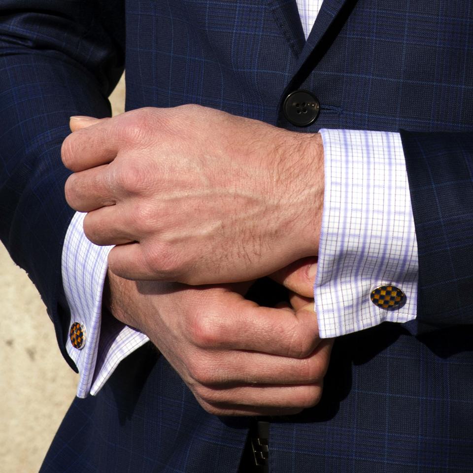 Luxury Steel Alloy Checkered Cufflinks - Franco Uomo
