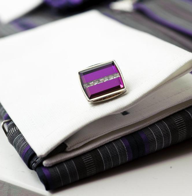 Luxury Steel Alloy Lavender Striped Cufflinks - Franco Uomo