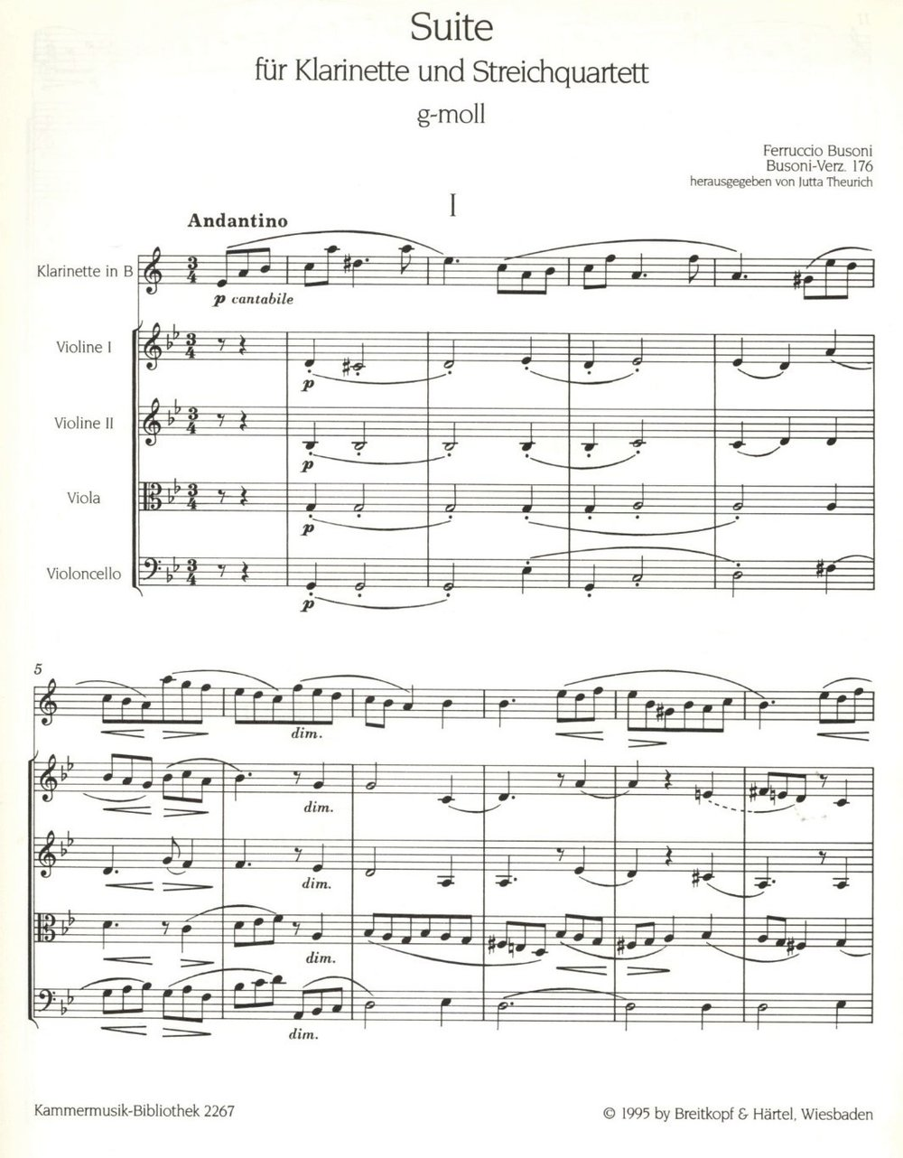 The opening of Busoni's Suite for Clarinet and String Quartet (note the lush harmonies, lyrical melody and counterpoint played by the cello).